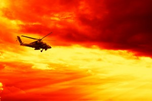 Military helicopter on Sunset